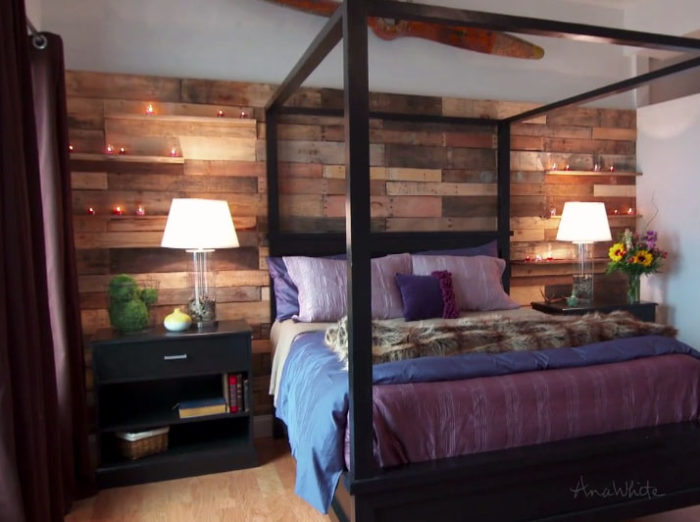 Pallet Wall with Little Shelves