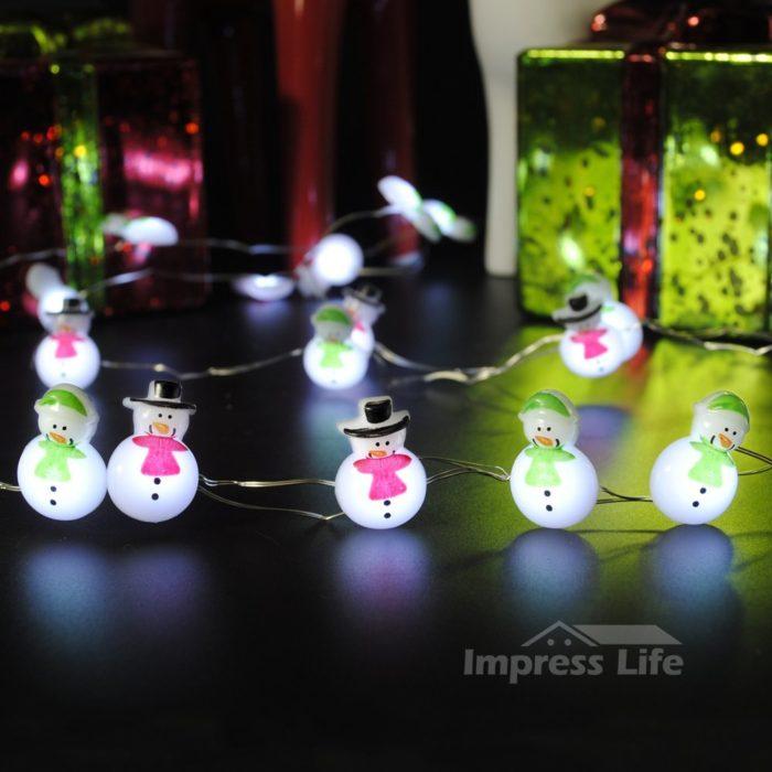 Snowman Couple String Lights
