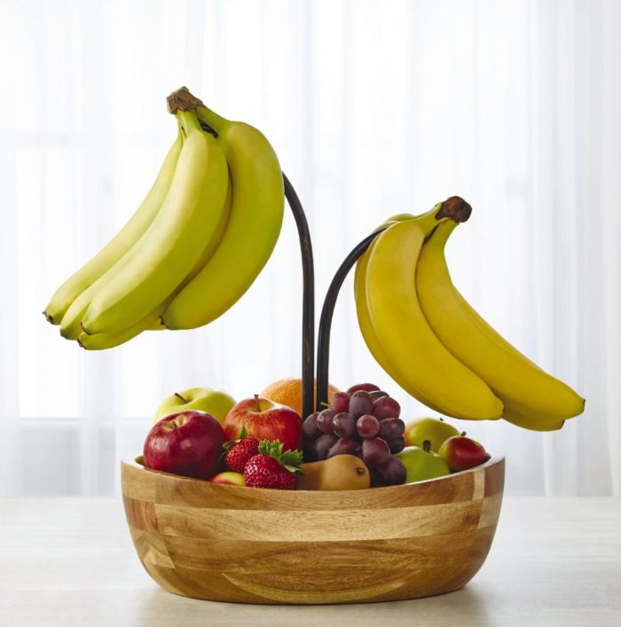 Wood Fruit Bowl with Banana Hook