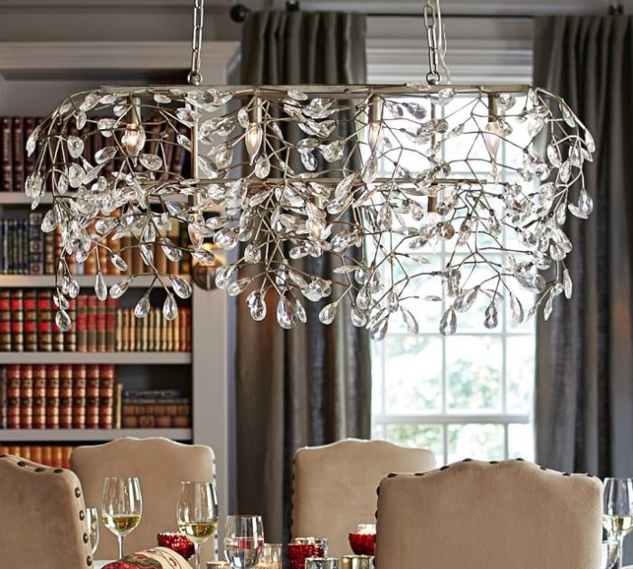 11 most elegant chandelier designs by potterybarn home designing bella crystal rectangular chandelier mozeypictures Image collections