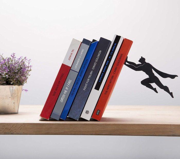 Book & Hero Metal Bookend