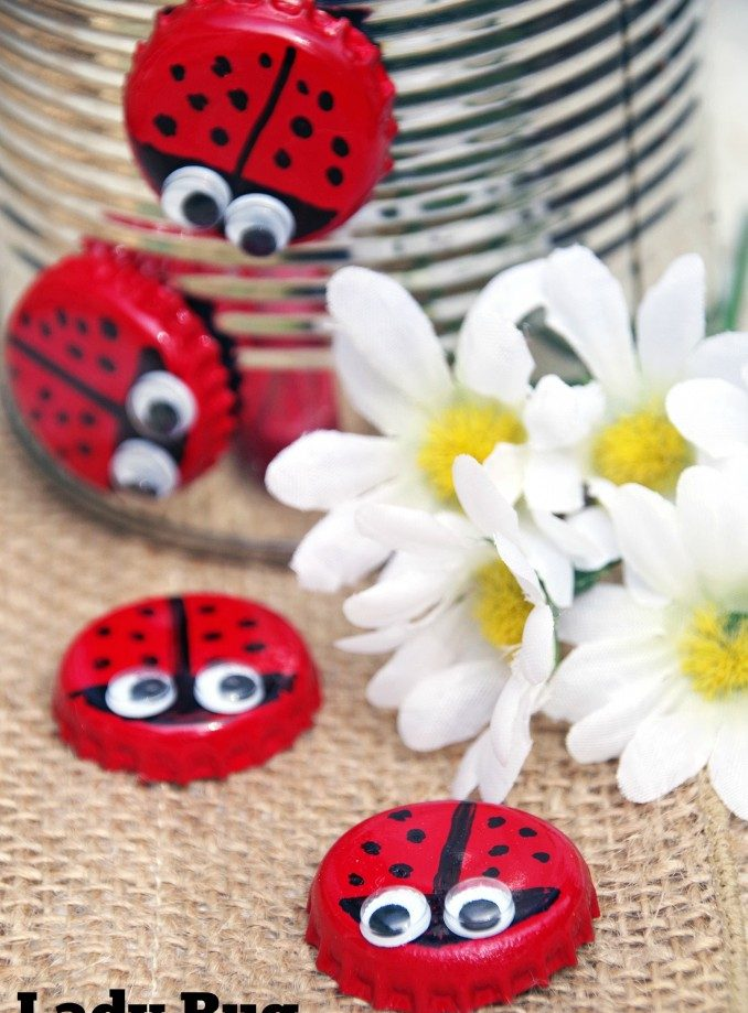 Bottle Cap Magnet Lady Bugs