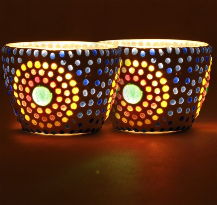Candle Holder with Flower Pattern