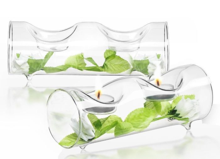 Clear Glass Tea Light Candle Holders