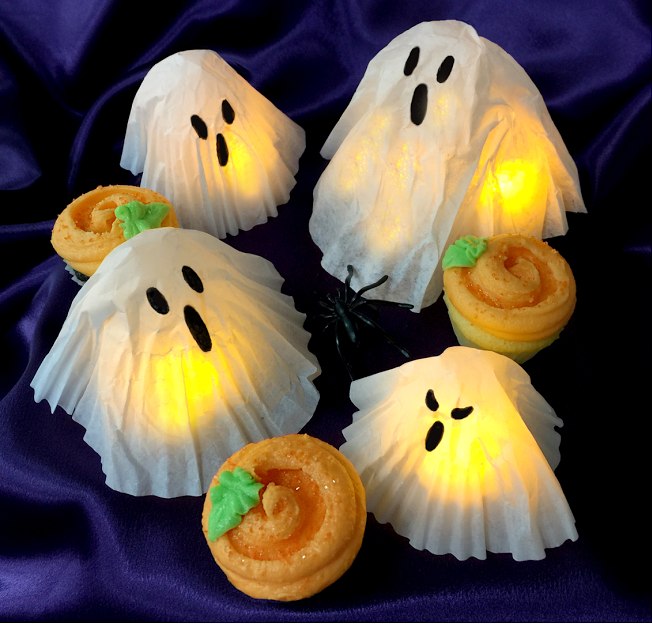 Halloween Cupcake Liner Ghosts