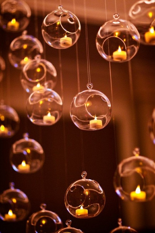 Hanging Glass Globe Candle Holder