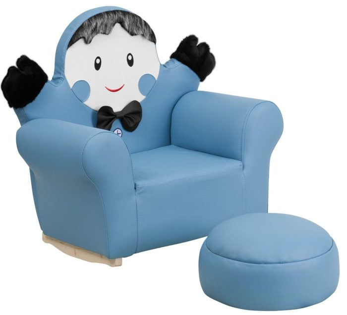 Kids Little Boy Rocker Chair and Footrest