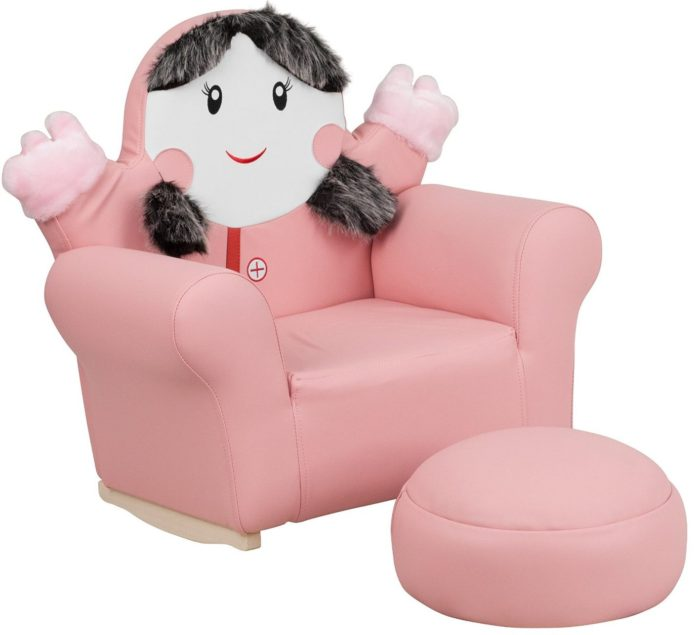 Little Girl Rocker Chair and Footrest