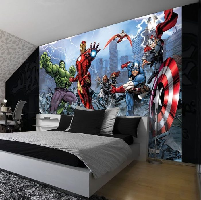 superhero wallpaper for bedroom. Marvel Avengers Comic Wallpaper 29 Amazing Super Hero Themed Things for Kids Room Decor  Home Designing