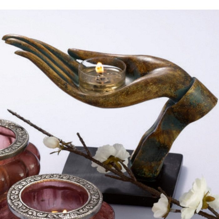 Open Hand Tealight Candle Holder