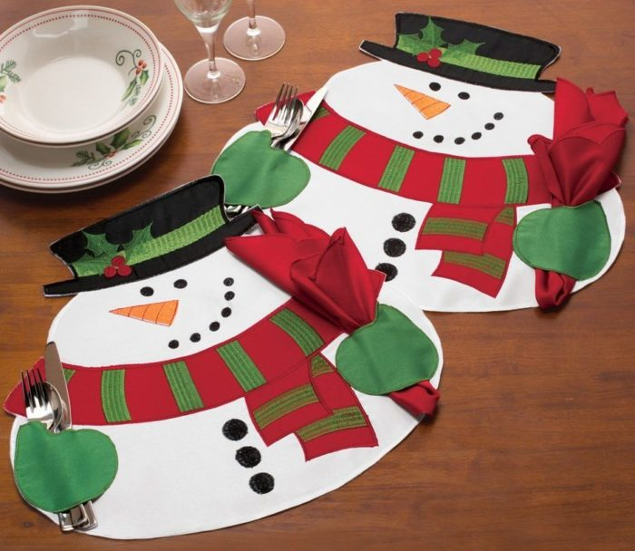 10 most cute and adorable holiday table placemats home designing snowman placemats solutioingenieria Image collections