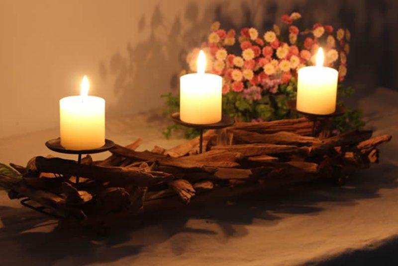 Twisted Wood Tealight Candle Sticks Holder