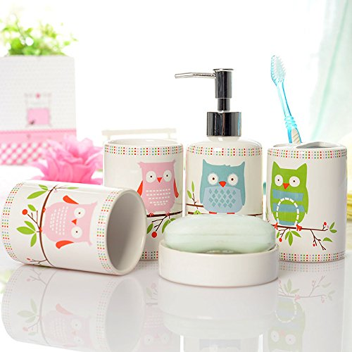 Ceramic Owl Print Bathroom Set