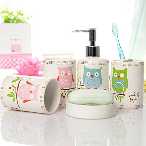 Ceramic Owl Print Bathroom Set