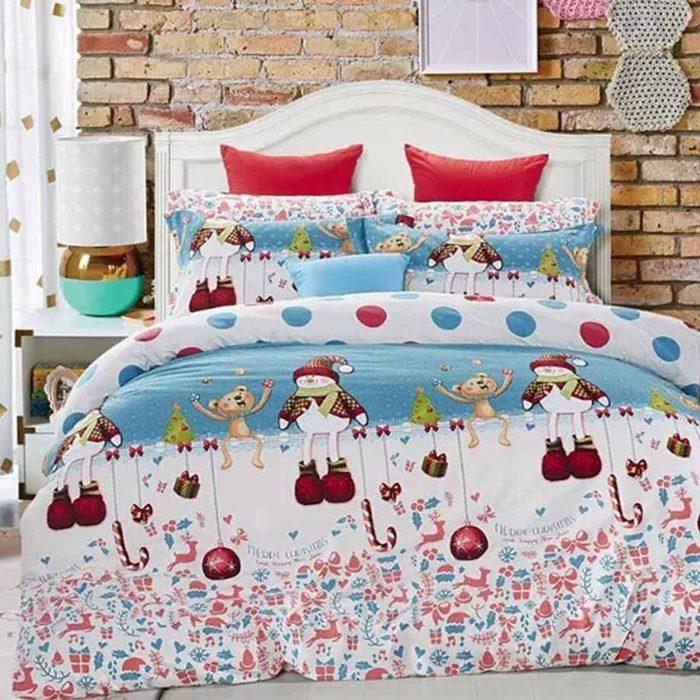 Christmas Snowman and Animals Bedding Set