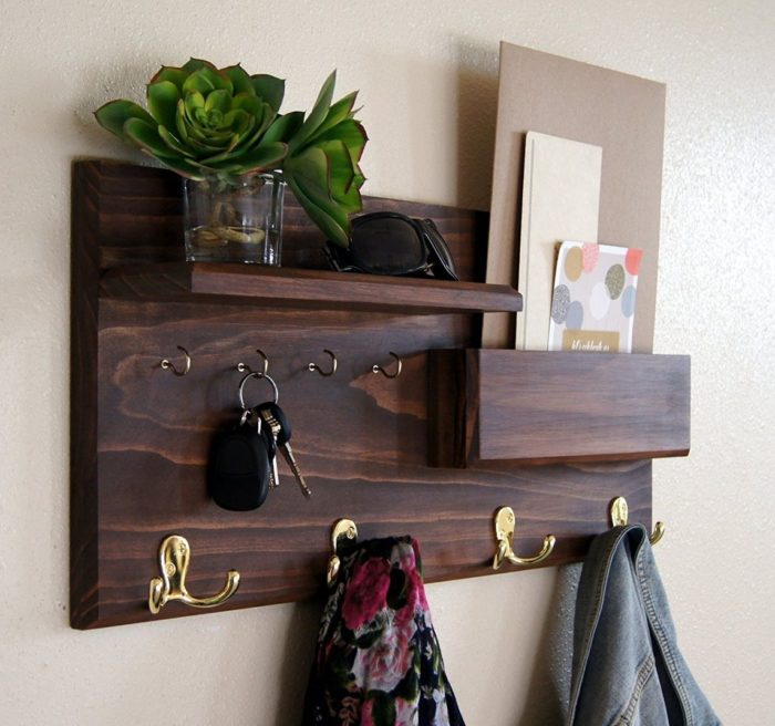 Coat Rack Mail Storage and Key Hooks