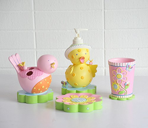 cute pink birds bathroom accessories