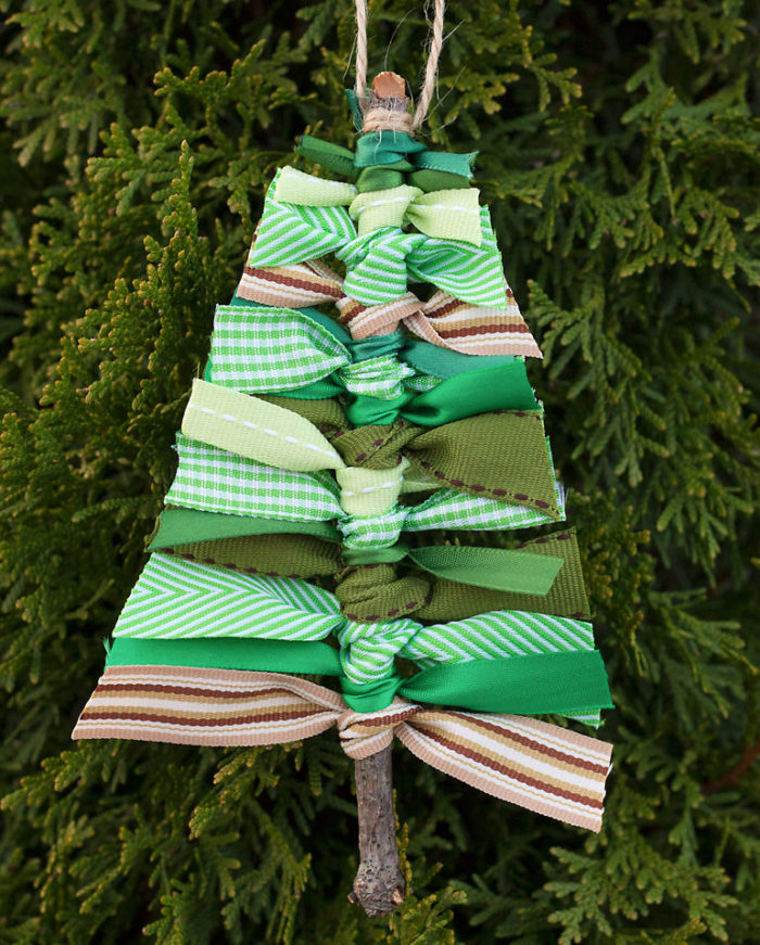 DIY Ribbon Tree Ornaments