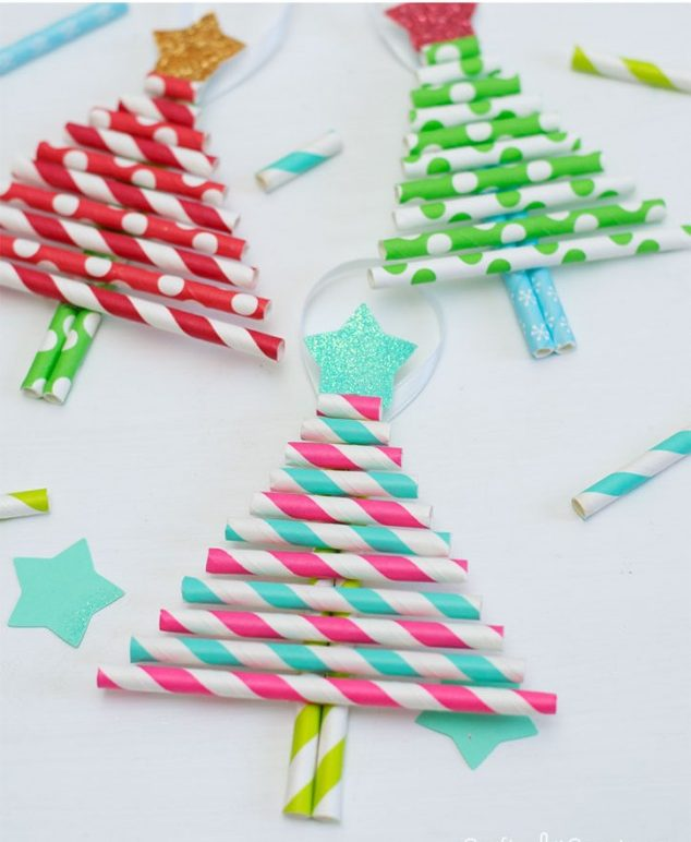 Paper Straw Christmas Trees