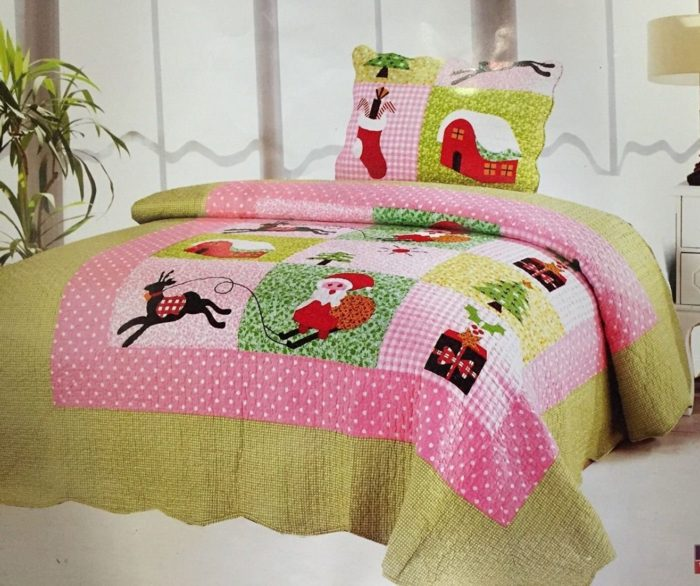 Twin Christmas Santa Clause Patchwork Quilt