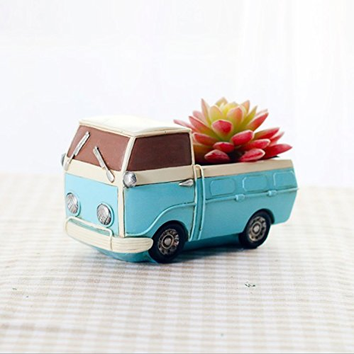 Blue Vintage Truck Vehicle Planter