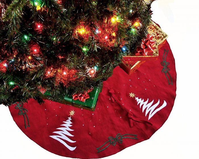 Burlap Hand Embroidered Christmas Tree Skirt
