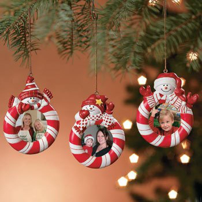 Candy Striped Snowman Ornaments