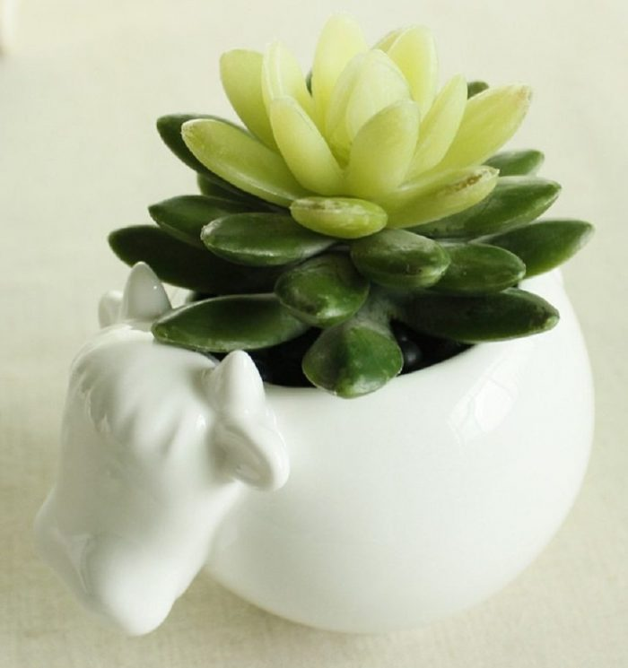 Elegant White Cow Design Planter