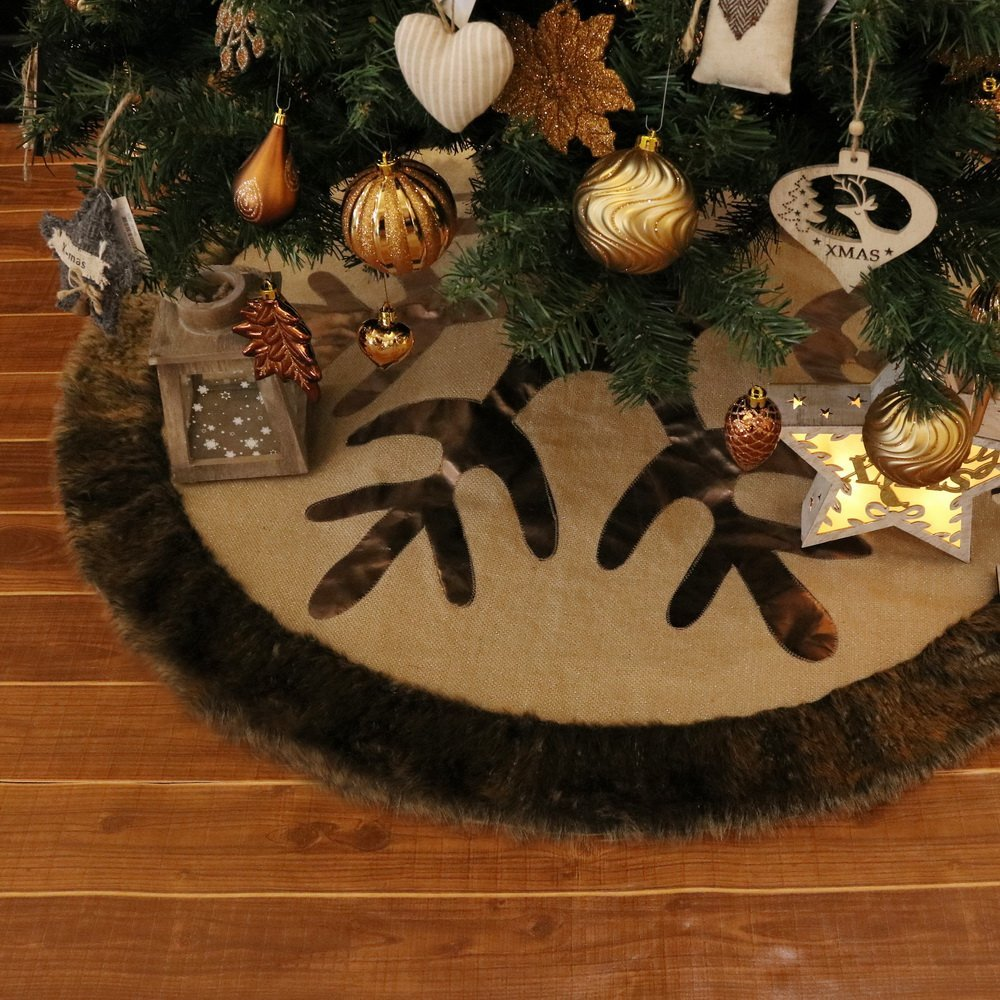 Golden and Grey Burlap Christmas Tree Skirt