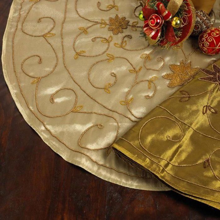 Hand Beaded Floral Design Christmas Tree Skirt