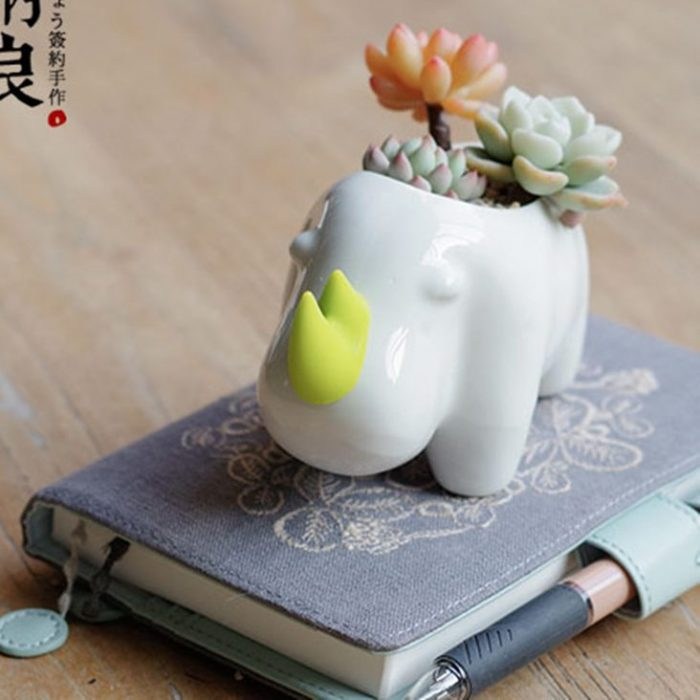 Little White Rhinoceros Planter