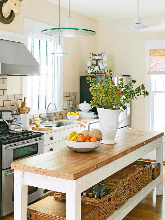 Narrow Butcher Kitchen Island