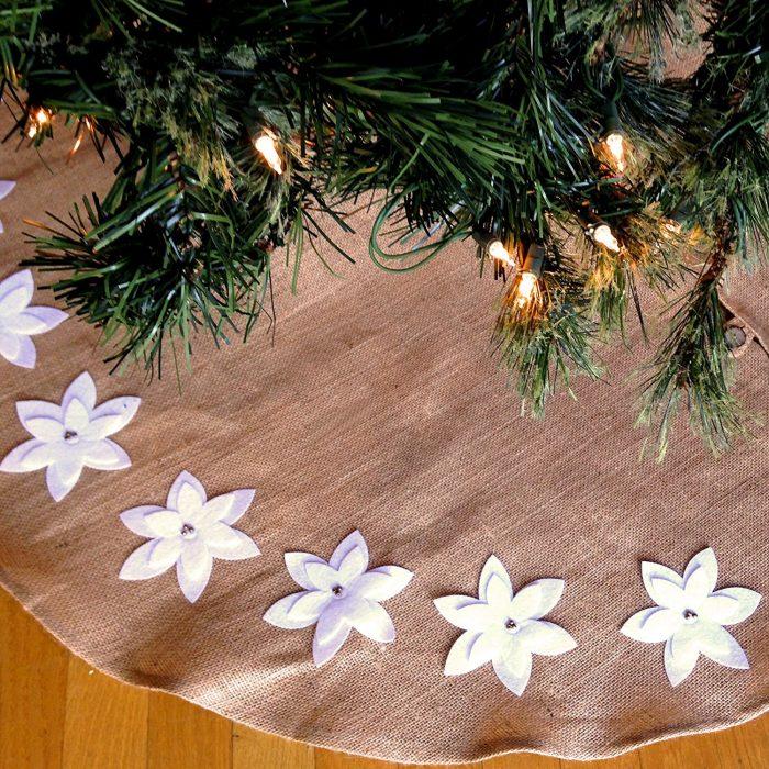 Natural Jute Burlap Christmas Tree Skirt
