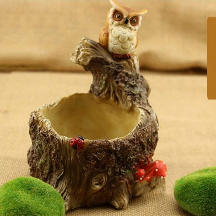 Owl On Tree Stump Planter