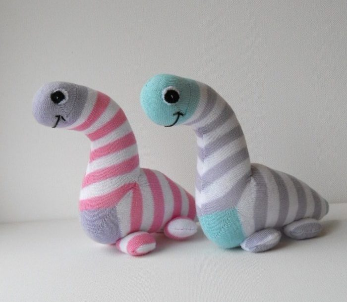 Pair of Sock Dinosaurs
