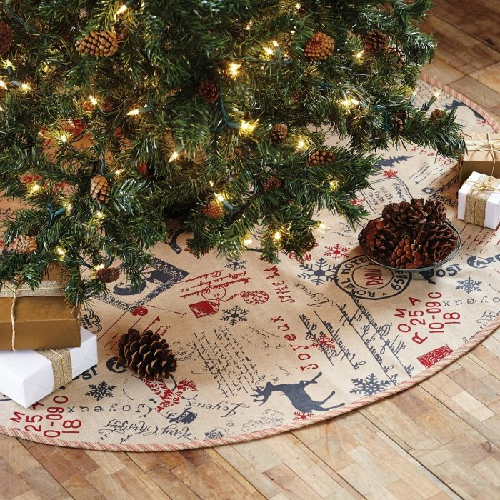 Postcard Themed Christmas Tree Skirt
