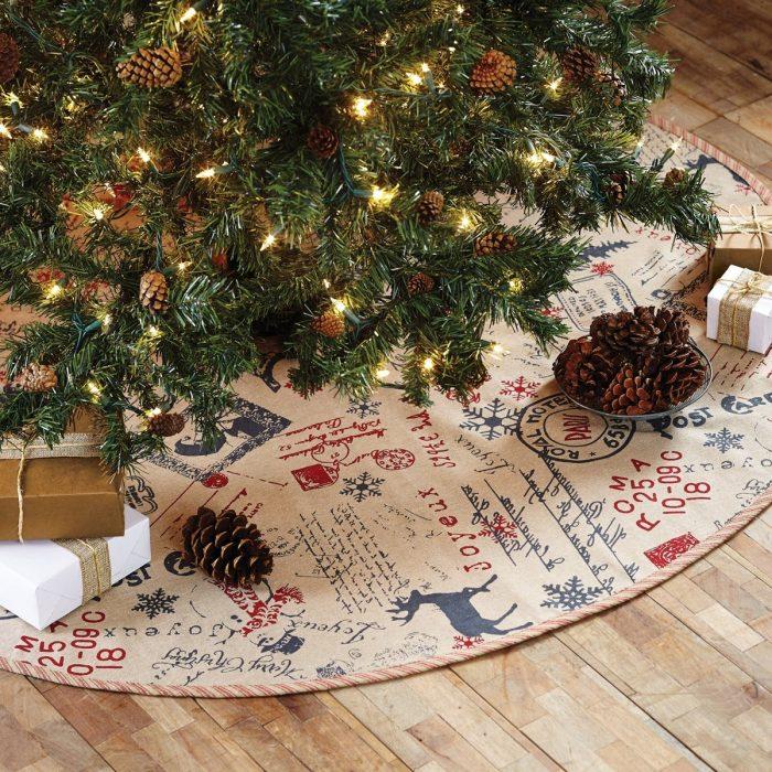 Postcard Themed Christmas Tree Skirt