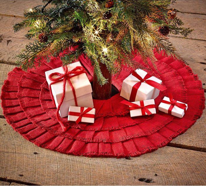 Red Ruffled Mini xmas Tree Skirt