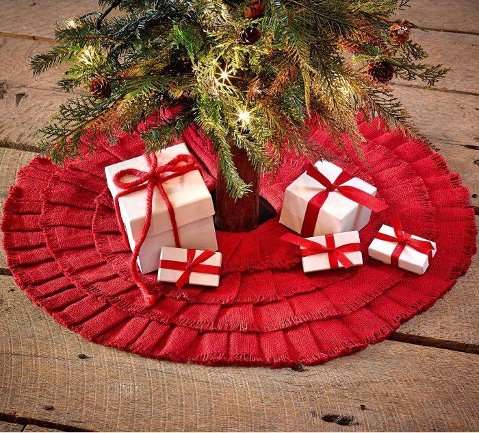 Red Ruffled Mini xmas Tree Skirt