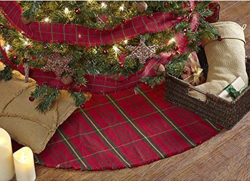 Red Woven Christmas Tree Skirt