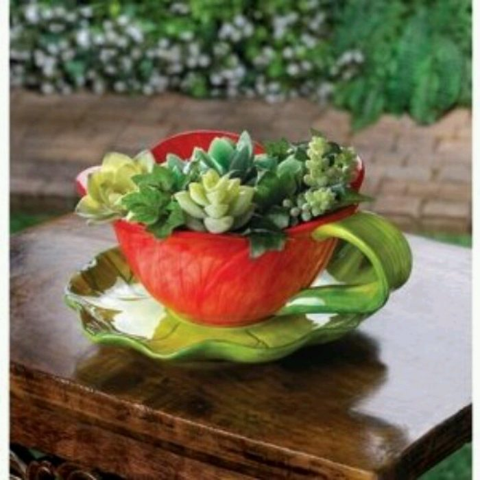 Red and Green Teacup Shaped Planter