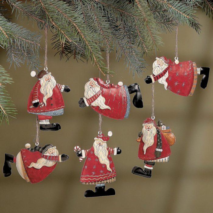 Santa Folk Christmas Ornaments
