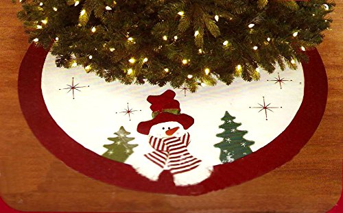 Sculpted Snowman Design Christmas Tree Skirt