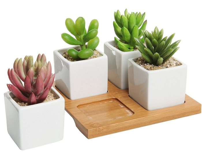 Square Shape Ceramic 4 Piece Planter Set