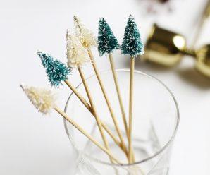 DIY Mini Tree Drink Stirrers for Christmas Parties
