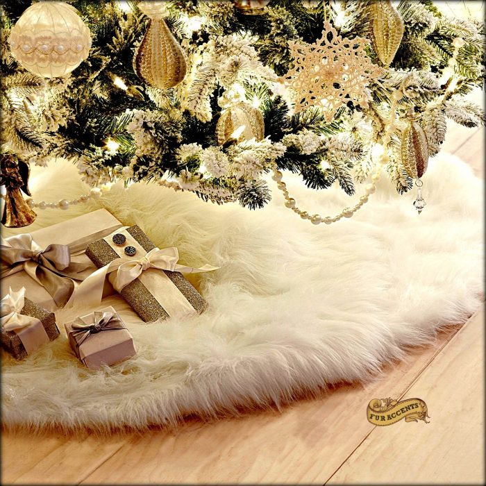White Fur Christmas Tree Skirt