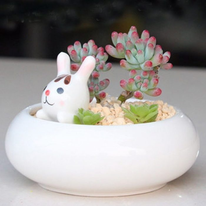 White Kitty Holder Ceramic Planter
