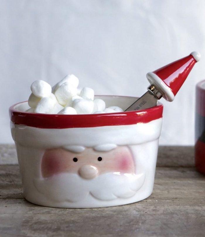 Ceramic Santa Bowl with Canape Knife