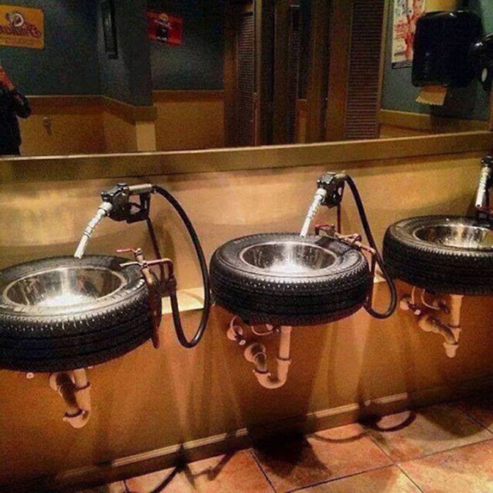 Creative Bathroom Tyre Sinks