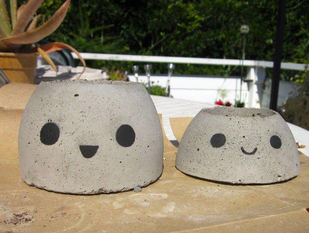 DIY Paint Concrete Succulent Planter